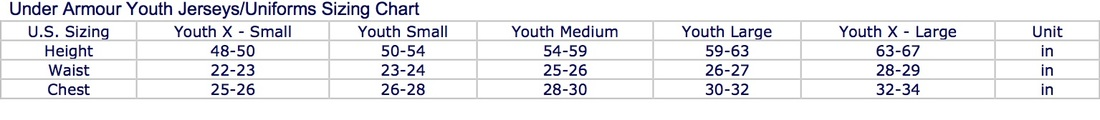 under armour size chart for youth